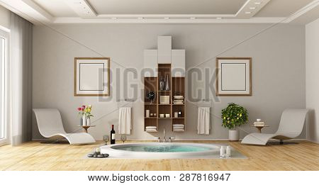 Luxury Bathroom With Built-in Round Bathtub, Chaise Lounges And Cabinet On Wall - 3d Renderimg