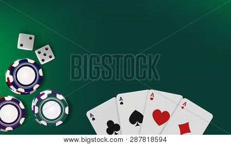 Top View Of Casino Table. Poker Chips, Dice And Cards On Green Background. Online Vegas Casino Banne
