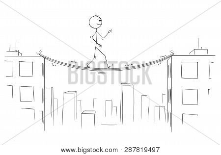 Cartoon Stick Figure Drawing Conceptual Illustration Of Man Or Businessman Walking Between High Buil