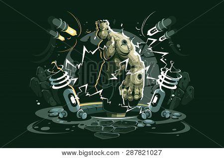 Frankenstein Cartoon Character Vector Illustration. Ugly Monster