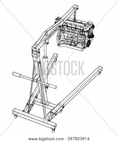engine hoist with engine outline  vector rendering of 3d  wire-frame style