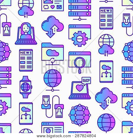 Information Technology Seamless Pattern With Thin Line Icons: Social Network, System Backup, Search,