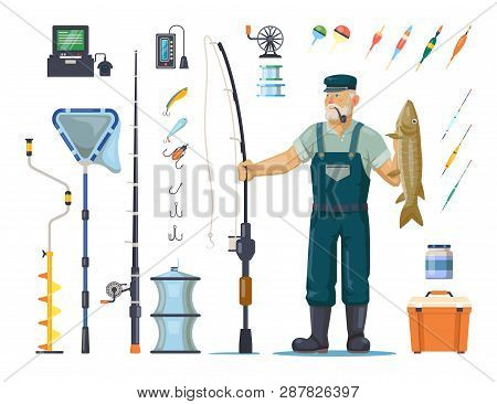 Fisherman In Wader With Catch Or Fish. Sport Fishing Equipment Like Rod Or Pole, Hook And Bobber, De