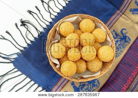 Many Kind Of Thai Dessert, Sesame Balls In A Wooden Basket ,glutinous Rice Flour And Stuffed Inside