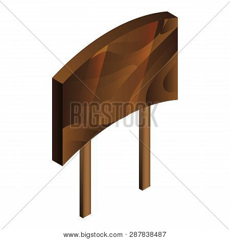 Wooden Welcome Board Icon. Isometric Of Wooden Welcome Board Icon For Web Design Isolated On White B