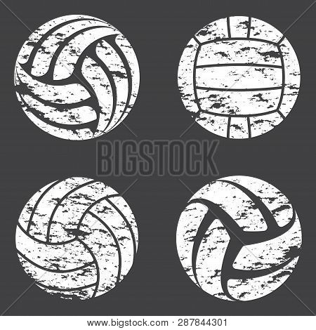 Set Of White Volleyball Grunge Silhouettes Isolated On Gray Background
