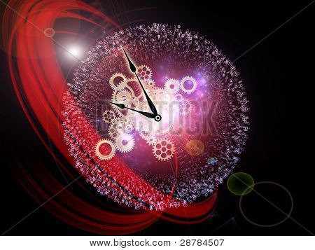 Interplay of clock elements digits lights and abstract graphics on the subject of time digital technology progress past present and future poster