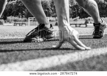 Starting Point. Runner Ready To Go Close Up. Ready Steady Go Concept. At The Beginning Of Great Spor