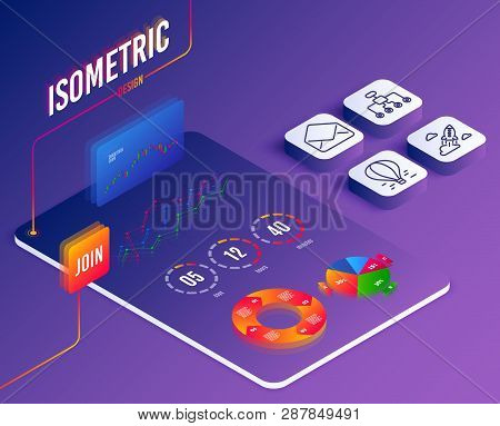 Isometric Vector. Set Of Mail, Restructuring And Startup Rocket Icons. Air Balloon Sign. E-mail, Del
