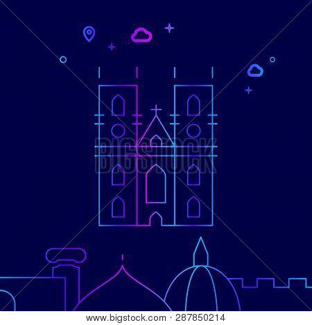 Westminster Abbey, London Vector Line Illustration. Historical Landmarks Gradient Icon, Symbol, Pict