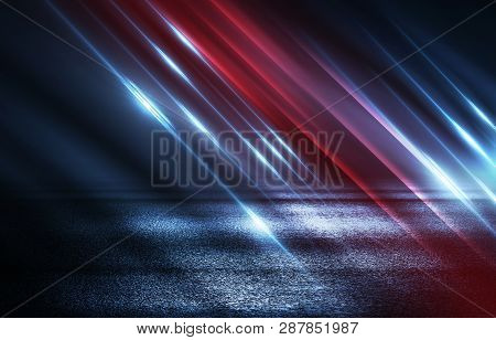Dark Empty Stage, Multicolored Rays Of Neon Searchlight, Wet Asphalt, Smoke, Night Shooting, Bokeh C