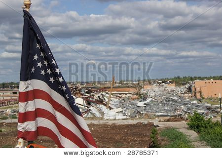 American USA Flag Waiving After Tornado In Joplin, Missouri