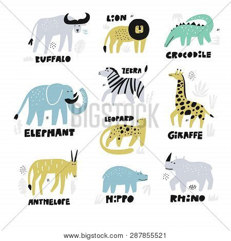 African Animals Hand Drawn Characters Set. Jungle, Rainforest, Savanna Fauna With Names Letterings.