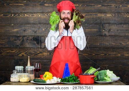 Healthy Raw Food. Dieting Concept. Man Wear Hat And Apron Hold Salad. Healthy Nutrition. Bearded Hip