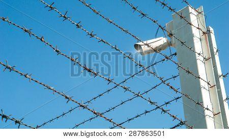 Cctv Surveillance Security Camera Concept - Cctv Surveillance Security Camera Video Equipment On Bar
