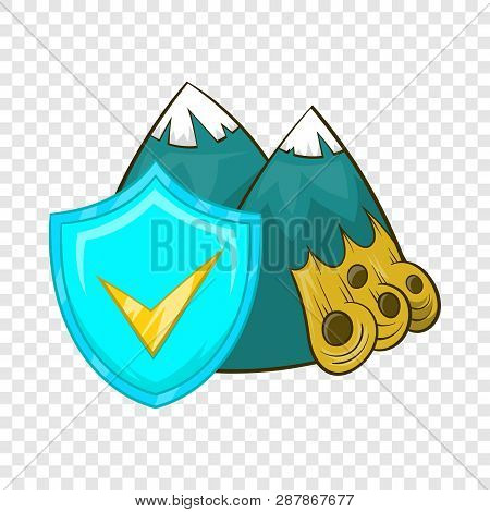 Landslide And Sky Blue Shield With Tick Icon In Cartoon Style On A Background For Any Web Design