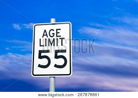 Ageism Age 55 Discrimination Social Issue Sign Concept