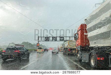Heavy Rain On German Autobahn, Mobile Phone Shot