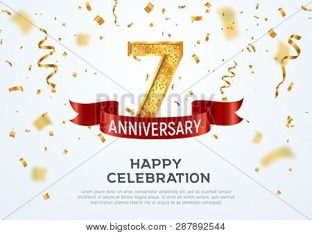 7 Years Anniversary Vector Banner Template. Seven Year Jubilee With Red Ribbon And Confetti On White