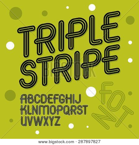 Vector Trendy Retro Uppercase Alphabet Letters Collection. Disco Type Font, Script From A To Z Can B