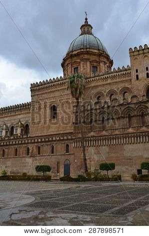 View Of Palermo Cathedral, Metropolitan Cathedral Of The Assumption Of Virgin Mary In Sicily