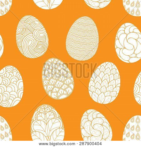 Seamless Pattern With Hand Drawn Easter Eggs Doodles, For Coloring Books. Easter Eggs With Geometric