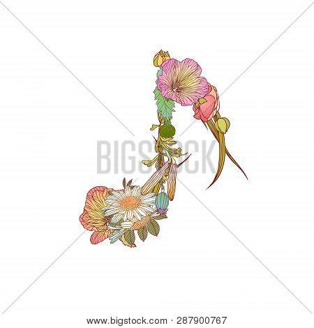 Vector Quaver Note Symbol Of Diferent Vector Flowers