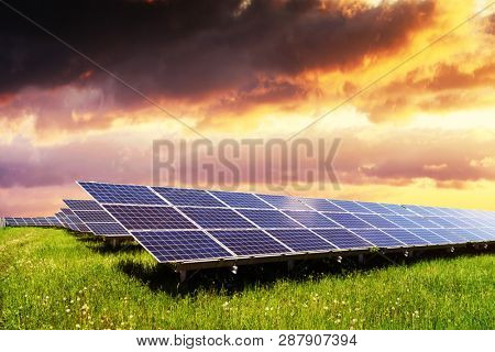 Industrial landscape with blue solar panels on sunset sky background