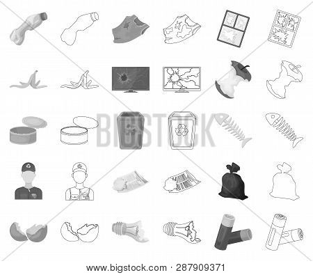 Garbage And Waste Monochrome, Outline Icons In Set Collection For Design. Cleaning Garbage Vector Sy