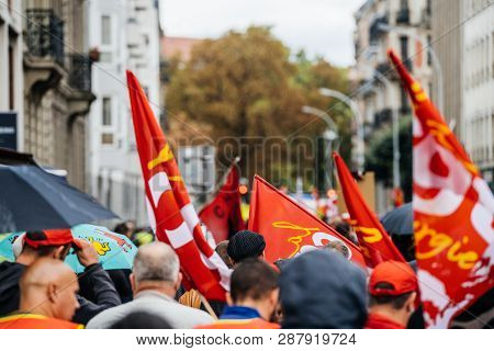 Strasbourg, France - Sep 12, 2017: Telephoto Lens Capturing Details Of Political March During A Fren