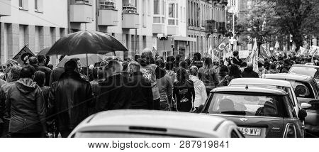 Strasbourg, France - Sep 12, 2017: Rear View Of French People At Political March During Nationwide D