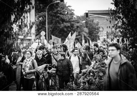 Strasbourg, France - Sep 12, 2017: Political March During A French Nationwide Day Of Protest Against
