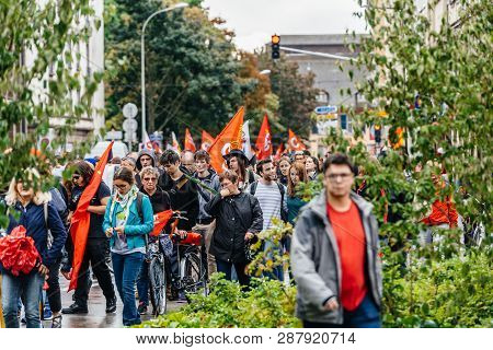 Strasbourg, France - Sep 12, 2017: View Of Crowd At Political March During A French Nationwide Day O