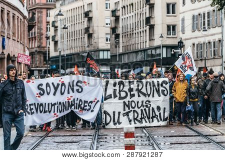 Strasbourg, France - Sep 12, 2017: Lets Be Revolutionary Message On Placard At Political March Durin