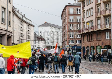 Strasbourg, France - Sep 12, 2017: Rear View Of Crowd On Rue De La 1ere Armee Street At Political Ma