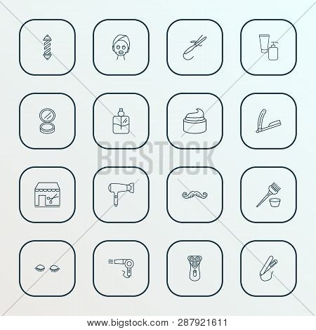Barbershop icons line style set with vintage hairdryer, cream, face powder and other appliance elements. Isolated  illustration barbershop icons. poster