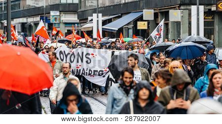 Strasbourg, France - Sep 12, 2017: Citizens At Political March During A French Nationwide Day Of Pro