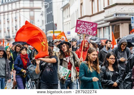 Strasbourg, France - Sep 12, 2017: Young Hipster French People Political March During A French Natio
