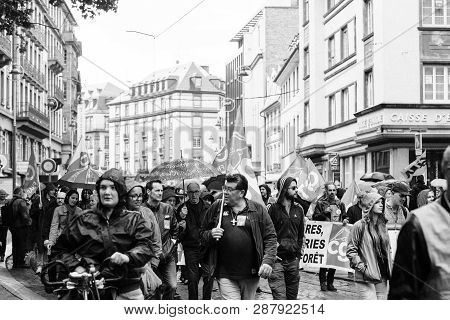 Strasbourg, France - Sep 12, 2017: Black And White Of Crowd Political March During A French Nationwi