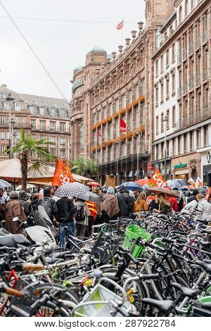Strasbourg, France - Sep 12, 2017: Crowd Near Bicycle Parking At Political March During A French Nat