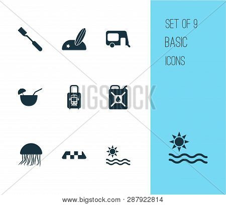 Journey Icons Set With Beach With Surf, Suitcase With Electric Train, Sea And Other Cab Elements. Is