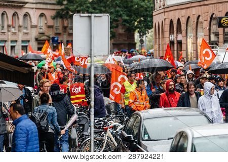 Strasbourg, France - Sep 12, 2017: Thousands Of People Blocking Streets Political March During A Fre