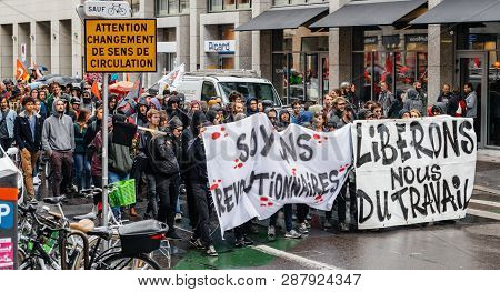 Strasbourg, France - Sep 12, 2017: Wide Image Of Crowd At French Nationwide Day Of Protest Against T