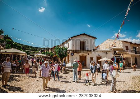 Pano Lefkara, Cyprus - May10, 2016: Tourists Walks Through A Village.