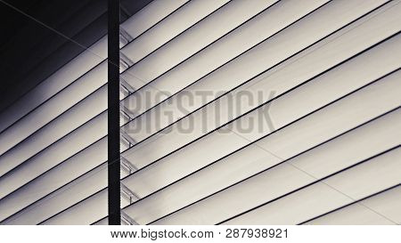 Blinds, Evening Sun Light Outside Wooden Window Blinds, Sunshine And Shadow On Window Blind, Decorat