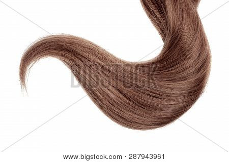 Long Brown Hair Isolated On White Background