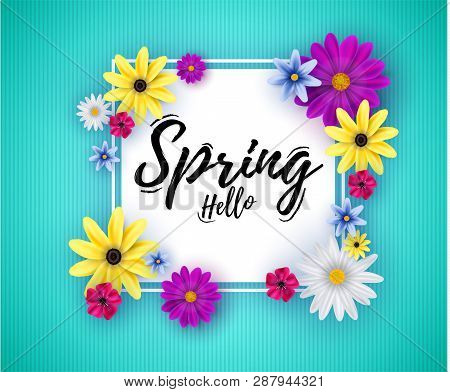Hello Spring. Hand Lettering On A Beautiful Background. Design For Holiday Cards And Invitations Sea
