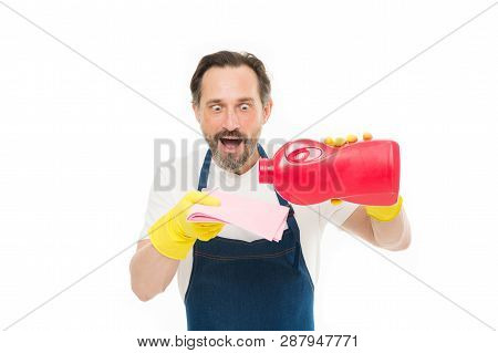 Instant result. Smart cleaning solution. Cleaning service and household duty. Man hold bottle liquid soap chemical cleaning agent. Bearded guy cleaning home. Cleanup concept. Get rid of stains. poster