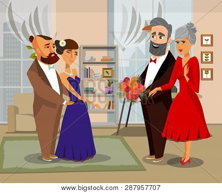 Bride, Groom With Parents Vector Illustration. Son-in-law, Daughter-in-law, Mother, Father Cartoon C