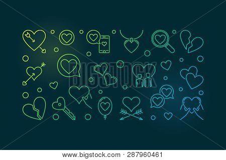 Lovesickness Vector Colored Outline Horizontal Illustration On Dark Background